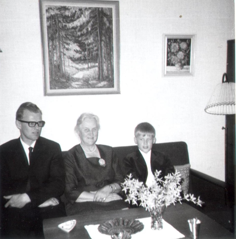 Olaf la Cour, April 28, 1968, my confirmation with my father and his aunt Ebba