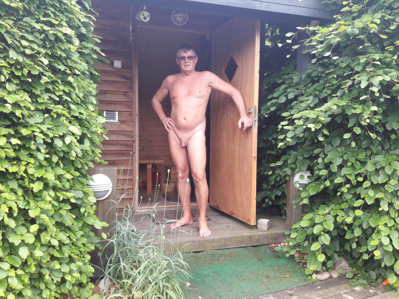 Olaf la Cour, in front of the sauna